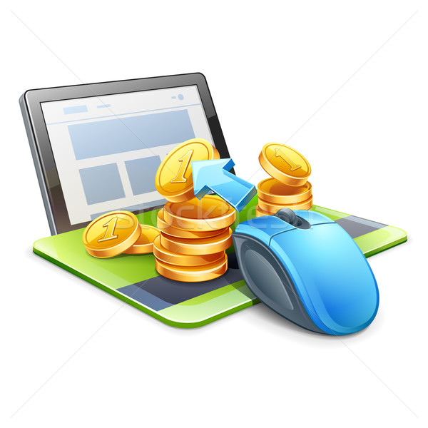 Computer mouse pointing coins in direction of tablet Stock photo © jossdiim