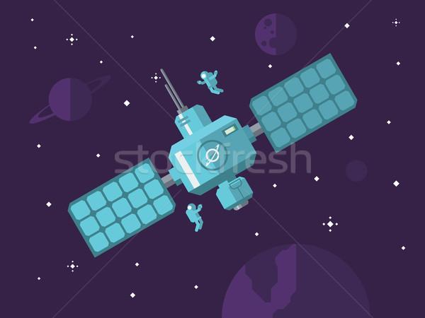 Satellite spazio esterno spazio stazione verde blu Foto d'archivio © jossdiim