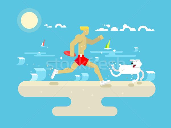 午前 ジョグ ビーチ フィットネス ライフスタイル 健康 ストックフォト © jossdiim