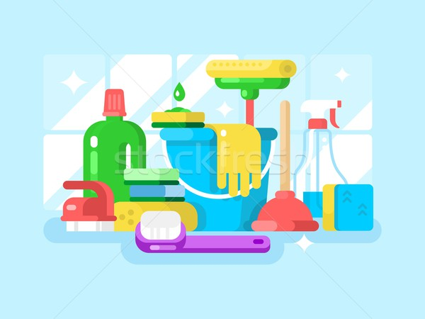 Cleaning tools and detergent Stock photo © jossdiim