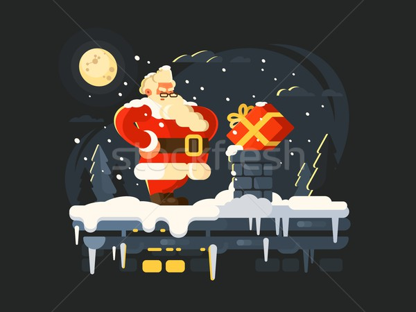 Stock photo: Santa Claus on roof
