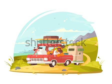 Surfing van with boards Stock photo © jossdiim