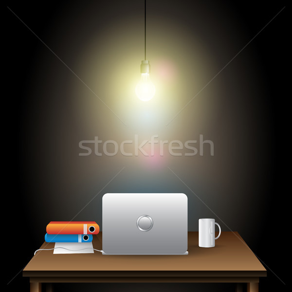 Werkplek illustratie donkere kamer business internet Stockfoto © Jugulator