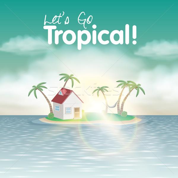 Vektor trópusi sziget aranyos ház pálmafák függőágy Stock fotó © Jugulator
