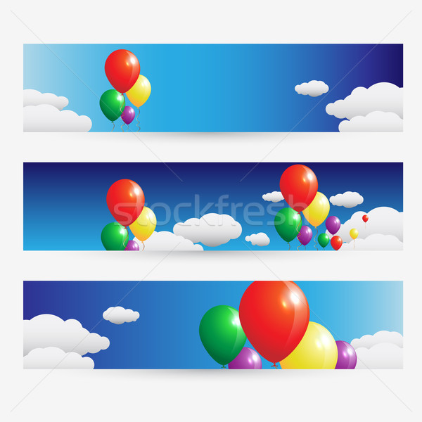 Balloons fly over the clouds in the sky design banner set Stock photo © Jugulator