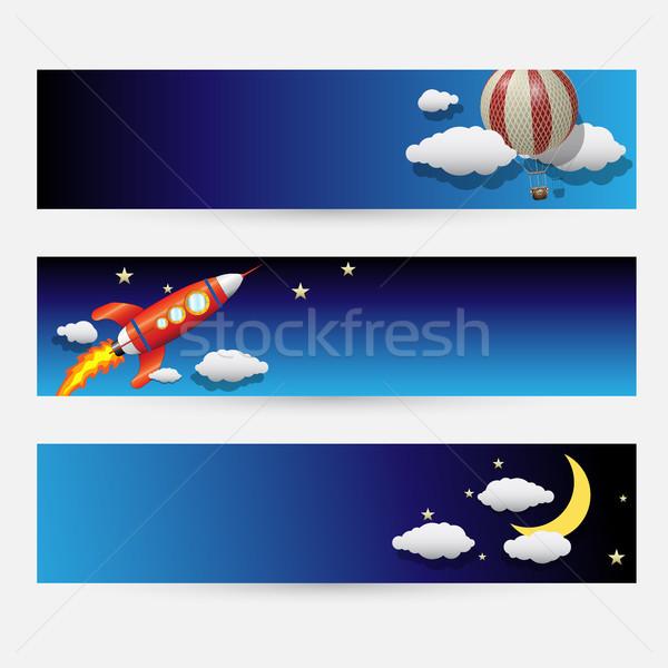 Night and Sky Themed Banner Set Stock photo © Jugulator