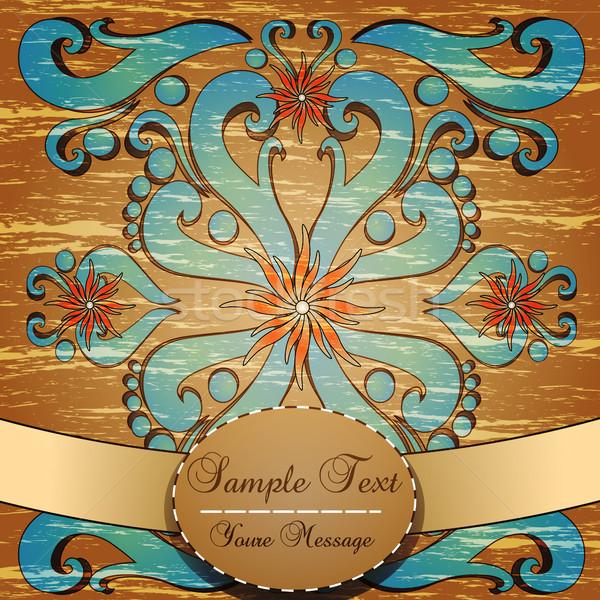 Vintage grunge floral etiqueta madeira luz Foto stock © Jugulator