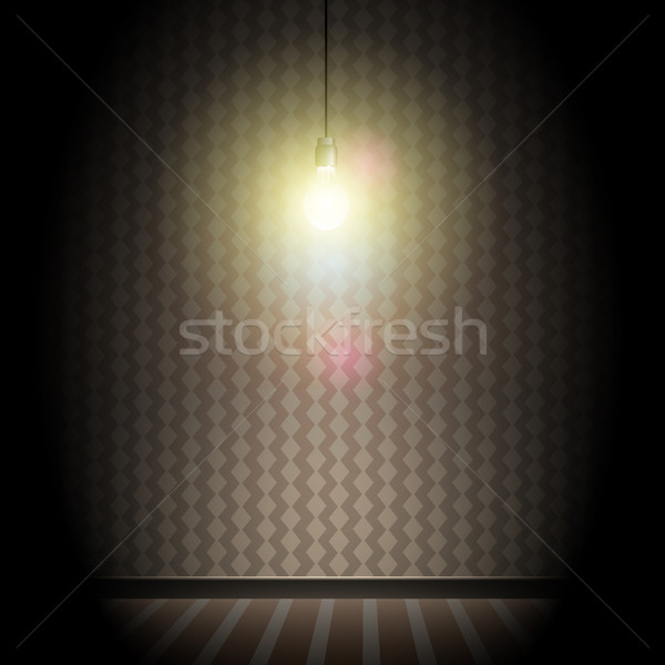 Vintage sombre chambre lumineuses ampoule Photo stock © Jugulator