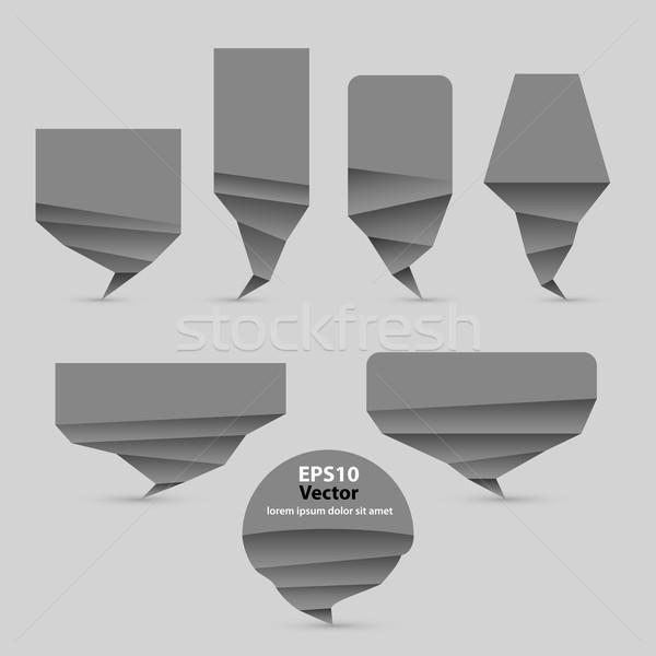 Stockfoto: Ingesteld · grijs · origami · stijl · vector · tekstballon