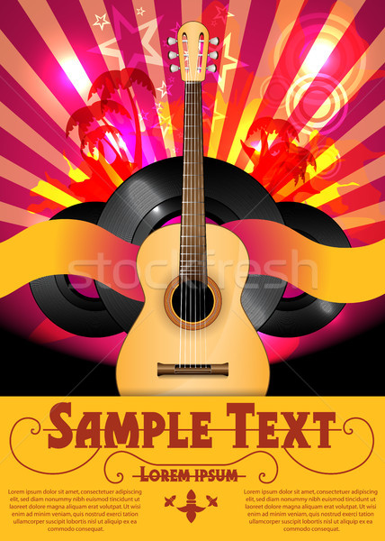 Colorful Vector Party Flyer with Acoustic Guitar Stock photo © Jugulator