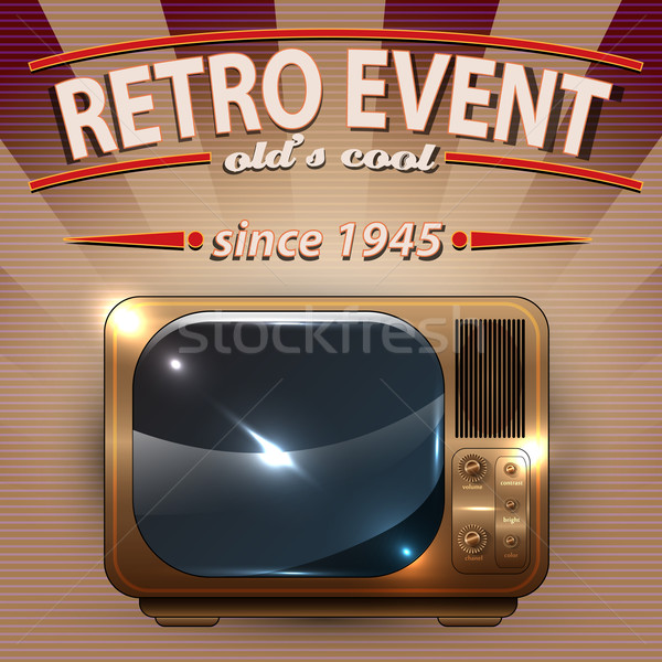 Retro Party poster with Vintage Television Stock photo © Jugulator