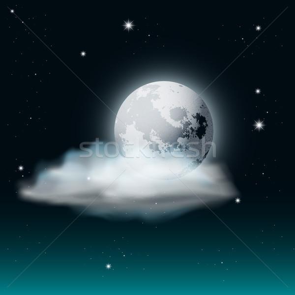 Wektora mętny nieba ilustracja księżyc gwiazdki Zdjęcia stock © Jugulator