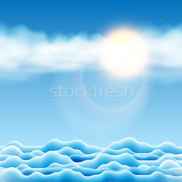 Illustratie water landschap zon wolken hemel Stockfoto © Jugulator