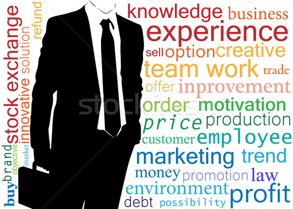 Business man illustration, with composed words on business theme Stock photo © Jugulator