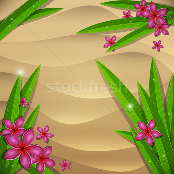 Strandzand nat bloemen vector illustratie strand Stockfoto © Jugulator