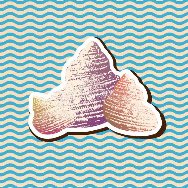 Vintage Retro Style set of Sea Snail Shell Illustration Stock photo © Jugulator