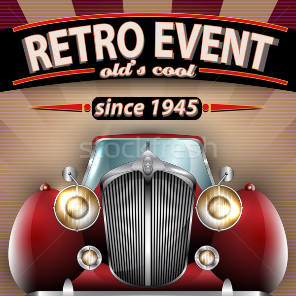 Retro partij flyer oldtimer vector illustratie Stockfoto © Jugulator