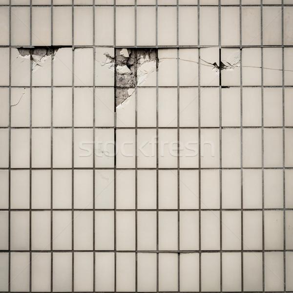 Stockfoto: Tegel · muur · tegels · gebarsten · textuur · stedelijke