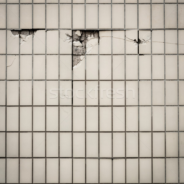 Carrelage mur tuiles fissuré texture urbaine Photo stock © Juhku