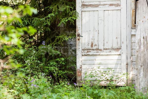 Open door of abandoned wooden house Stock photo © Juhku