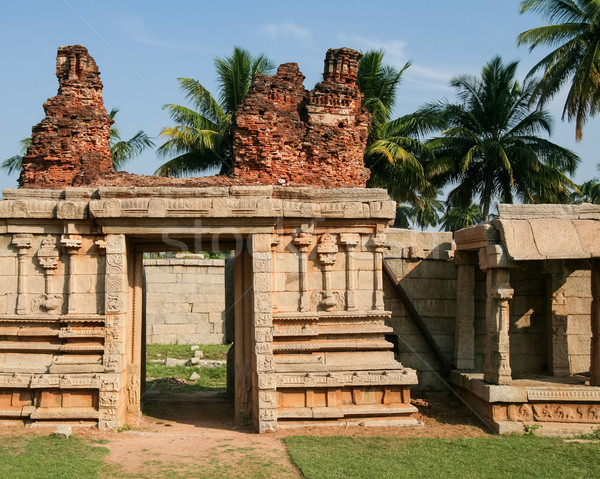 Ancient ruin stone building in hampi Stock photo © Juhku