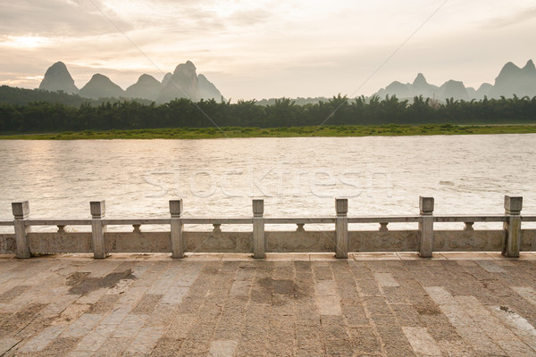Li river landscape and empty street from yangshuo Stock photo © Juhku