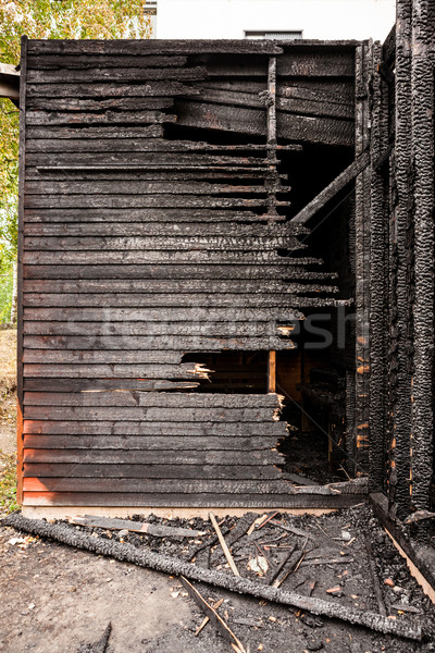 Törött fa fal textúra ház tűz Stock fotó © Juhku