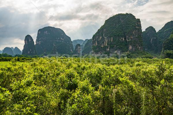 Karst mountains in yangshuo china  Stock photo © Juhku