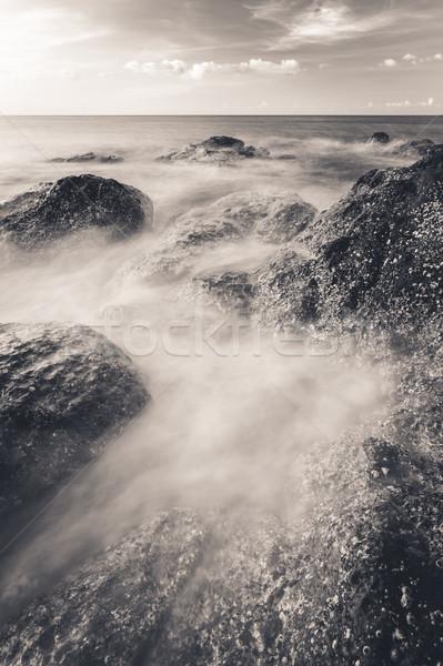 волны пород берега длительной экспозиции фото пляж Сток-фото © Juhku