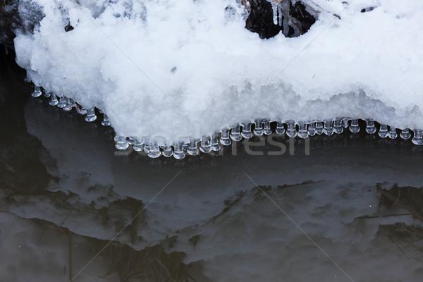 Pequeno água perfeito reflexão natureza neve Foto stock © Juhku