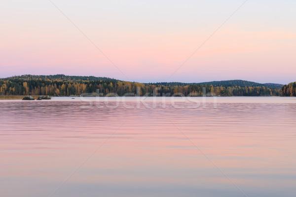 безмятежный озеро декораций сумерки Финляндия лет Сток-фото © Juhku
