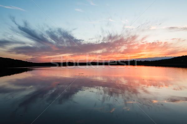 Colorful sunset and reflection at lake Stock photo © Juhku