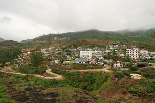 Kasaba Hindistan binalar bulutlar doğa manzara Stok fotoğraf © Juhku