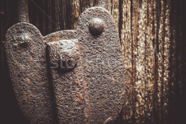 Oude rustiek hangslot houten deur Stockfoto © Juhku