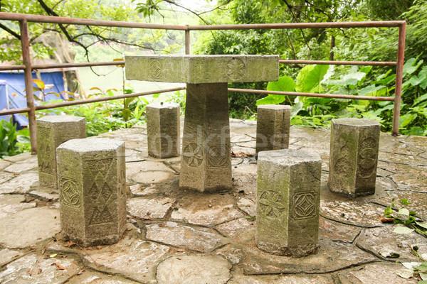 Pietra tavola mobili Asia panchina vuota Foto d'archivio © Juhku