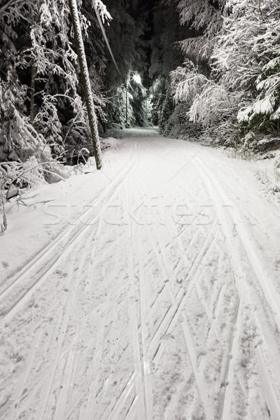 Zwart wit foto ski track nacht sport Stockfoto © Juhku