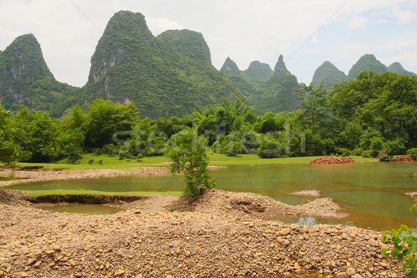 Beautiful karst mountains li river Stock photo © Juhku