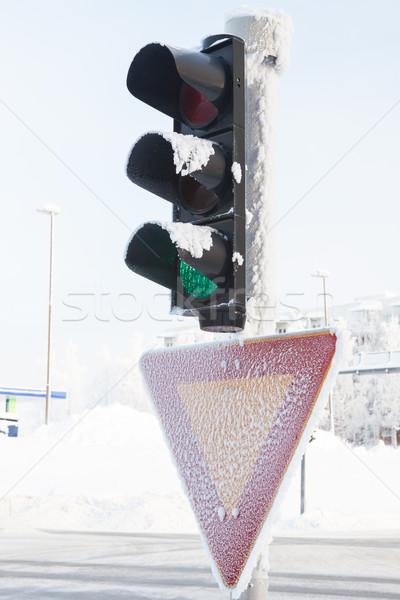 Zamrożone światłach zimą czerwone światło śniegu Zdjęcia stock © Juhku