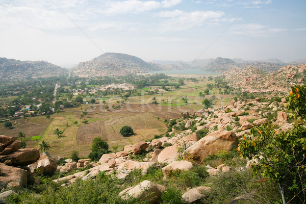 Hampi landscape from top of a hill Stock photo © Juhku