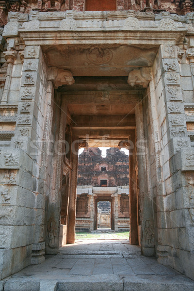 Big doorway at ruins in hampi Stock photo © Juhku