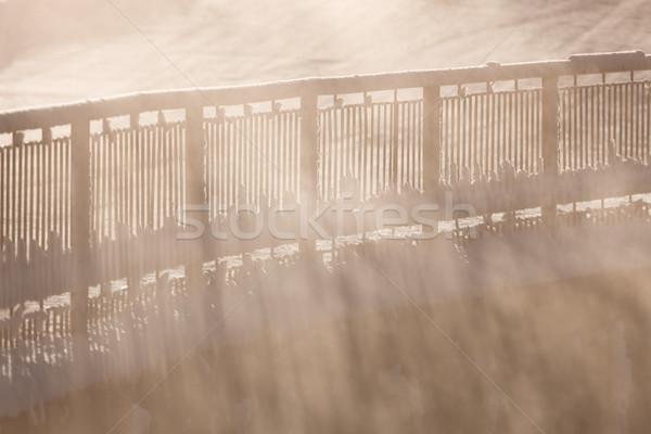 Railing in morning fog Stock photo © Juhku