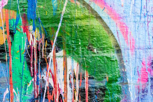 Dripping paint graffiti wall Stock photo © Juhku