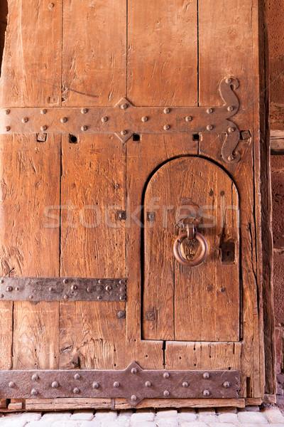 öreg elnyűtt erős fából készült ajtó kastély Stock fotó © Juhku