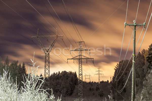 Power lines and yellow clouds at night Stock photo © Juhku