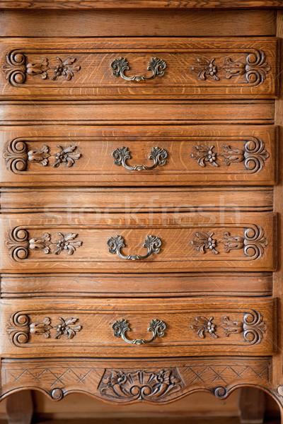 Antique bois poitrine tiroirs design Photo stock © Juhku
