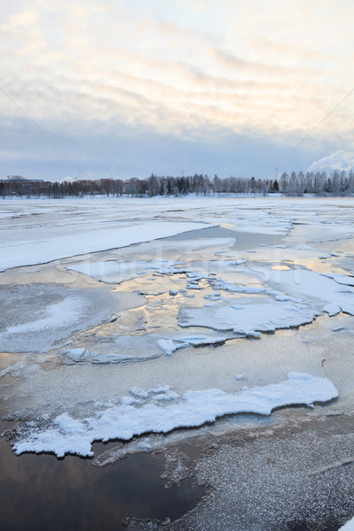 Thin ice in lake Stock photo © Juhku