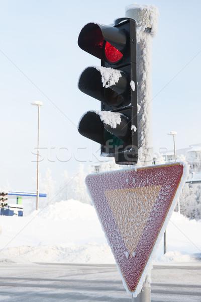 Dondurulmuş trafik ışığı kış kırmızı şehir Stok fotoğraf © Juhku