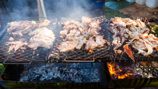 Carne di maiale carne alla griglia aprire il fuoco esterna cena Foto d'archivio © Juhku