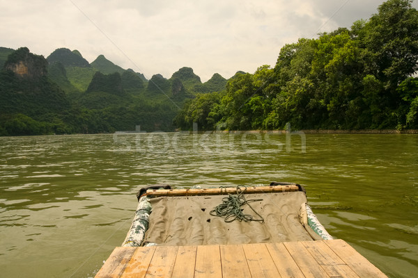 Bamboo rafting li river china Stock photo © Juhku