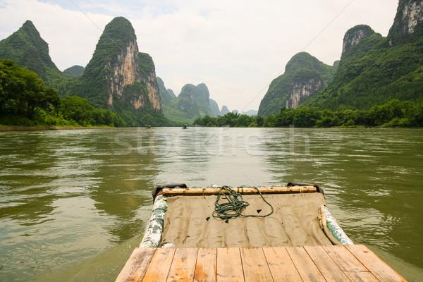 Bambú rafting río China paisaje montana Foto stock © Juhku